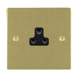 Hamilton Sheer Satin Brass 1 Gang 2A Unswitched Socket with Black Insert