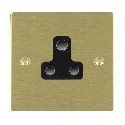 Hamilton Sheer Satin Brass 1 Gang 5A Unswitched Socket with Black Insert