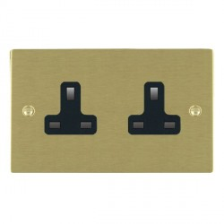Hamilton Sheer Satin Brass 2 Gang 13A Unswitched Socket with Black Insert
