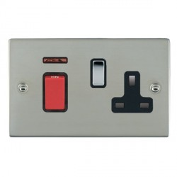 Hamilton Sheer Bright Steel 1 Gang Double Pole 45A Red Rocker + 13A Switched Socket with Black Insert
