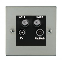 Hamilton Sheer Bright Steel TV+FM+SAT+SAT (DAB Compatible) with Black Insert