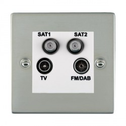Hamilton Sheer Bright Steel TV+FM+SAT+SAT (DAB Compatible) with White Insert