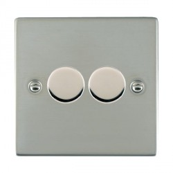 Hamilton Sheer Bright Steel Push On/Off 400W Dimmer 2 Gang 2 way with Bright Steel Insert