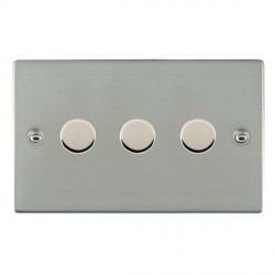 Hamilton Sheer Bright Steel Push On/Off 400W Dimmer 3 Gang 2 way with Bright Steel Insert