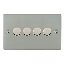 Hamilton Sheer Bright Steel Push On/Off 400W Dimmer 4 Gang 2 way with Bright Steel Insert
