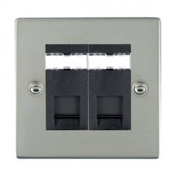 Hamilton Sheer Bright Steel 2 Gang RJ45 Outlet Cat 5e Unshielded with Black Insert