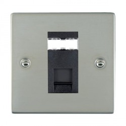Hamilton Sheer Bright Steel 1 Gang RJ45 Outlet Cat 5e Unshielded with Black Insert