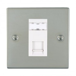 Hamilton Sheer Bright Steel 1 Gang RJ45 Outlet Cat 5e Unshielded with White Insert