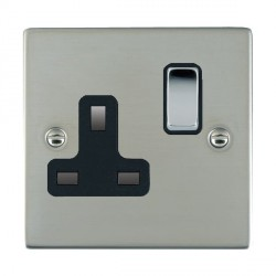Hamilton Sheer Bright Steel 1 Gang 13A Switched Socket - Double Pole with Black Insert