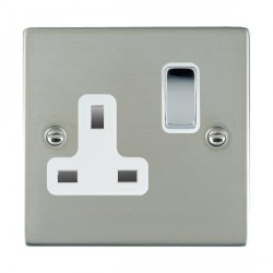Hamilton Sheer Bright Steel 1 Gang 13A Switched Socket - Double Pole with White Insert