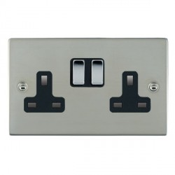 Hamilton Sheer Bright Steel 2 Gang 13A Switched Socket - Double Pole with Black Insert
