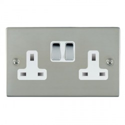 Hamilton Sheer Bright Steel 2 Gang 13A Switched Socket - Double Pole with White Insert