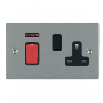 Hamilton Sheer Satin Steel 1 Gang Double Pole 45A Red Rocker + 13A Switched Socket with Black Insert