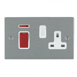 Hamilton Sheer Satin Steel 1 Gang Double Pole 45A Red Rocker + 13A Switched Socket with White Insert