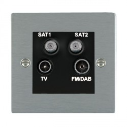 Hamilton Sheer Satin Steel TV+FM+SAT+SAT (DAB Compatible) with Black Insert