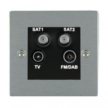 Hamilton Sheer Satin Steel TV+FM+SAT+SAT (DAB Compatible) with Black Insert