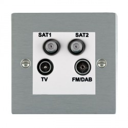 Hamilton Sheer Satin Steel TV+FM+SAT+SAT (DAB Compatible) with White Insert