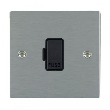 Hamilton Sheer Satin Steel 1 Gang 13A Fuse Only with Black Insert