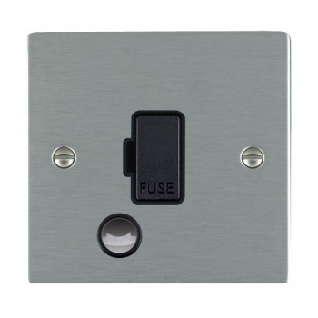 Hamilton Sheer Satin Steel 1 Gang 13A Fuse + Cable Outlet with Black Insert