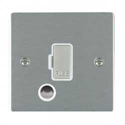 Hamilton Sheer Satin Steel 1 Gang 13A Fuse + Cable Outlet with White Insert