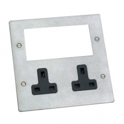 Hamilton Sheer Media Plates Satin Steel Media Plate containing 2 Gang 13A Unswitched Socket + EURO4 aperture with Black Insert