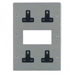 Hamilton Sheer Satin Steel Media Plate containing 2 Gang 13A Unswitched Socket, 2 Gang 13A Unswitched Socket, EURO4 aperture with Black Insert