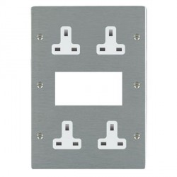 Hamilton Sheer Satin Steel Media Plate containing 2 Gang 13A Unswitched Socket, 2 Gang 13A Unswitched Socket, EURO4 aperture with White Insert
