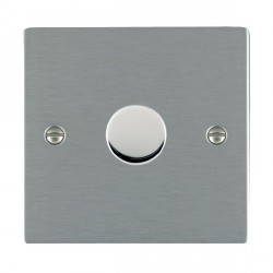 Hamilton Sheer Satin Steel Push On/Off Dimmer 1 Gang Multi-way 250W/VA Trailing Edge with Satin Steel Insert