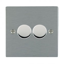 Hamilton Sheer Satin Steel Push On/Off Dimmer 2 Gang Multi-way 250W/VA Trailing Edge with Satin Steel Insert