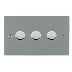 Hamilton Sheer Satin Steel Push On/Off Dimmer 3 Gang Multi-way 250W/VA Trailing Edge with Satin Steel Insert