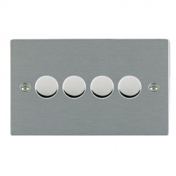 Hamilton Sheer Satin Steel Push On/Off Dimmer 4 Gang Multi-way 250W/VA Trailing Edge with Satin Steel Insert