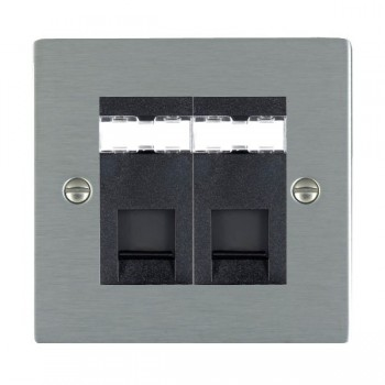 Hamilton Sheer Satin Steel 2 Gang RJ12 Outlet Unshielded with Black Insert