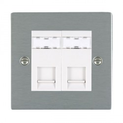 Hamilton Sheer Satin Steel 2 Gang RJ12 Outlet Unshielded with White Insert
