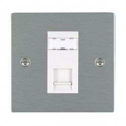 Hamilton Sheer Satin Steel 1 Gang RJ12 Outlet Unshielded with White Insert
