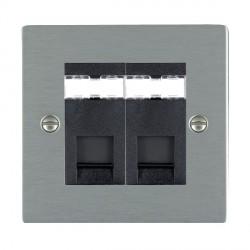 Hamilton Sheer Satin Steel 2 Gang RJ45 Outlet Cat 5e Unshielded with Black Insert
