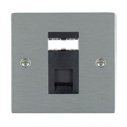 Hamilton Sheer Satin Steel 1 Gang RJ45 Outlet Cat 5e Unshielded with Black Insert