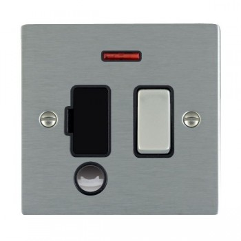 Hamilton Sheer Satin Steel 1 Gang 13A Fused Spur, Double Pole + Neon + Cable Outlet with Black Insert