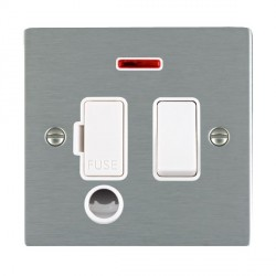 Hamilton Sheer Satin Steel 1 Gang 13A Fused Spur, Double Pole + Neon + Cable Outlet with White Insert