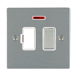 Hamilton Sheer Satin Steel 1 Gang 13A Fused Spur, Double Pole + Neon with White Insert