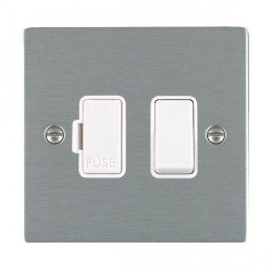 Hamilton Sheer Satin Steel 1 Gang 13A Fused Spur, Double Pole with White Insert