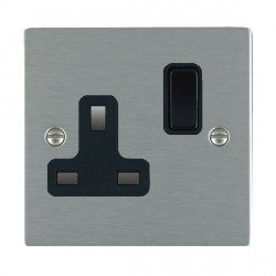 Hamilton Sheer Satin Steel 1 Gang 13A Switched Socket - Double Pole with Black Insert