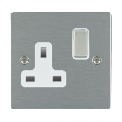 Hamilton Sheer Satin Steel 1 Gang 13A Switched Socket - Double Pole with White Insert