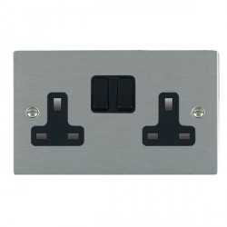 Hamilton Sheer Satin Steel 2 Gang 13A Switched Socket - Double Pole with Black Insert