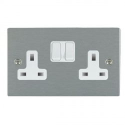 Hamilton Sheer Satin Steel 2 Gang 13A Switched Socket - Double Pole with White Insert