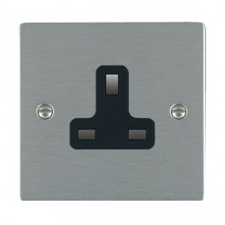 Hamilton Sheer Satin Steel 1 Gang 13A Unswitched Socket with Black Insert