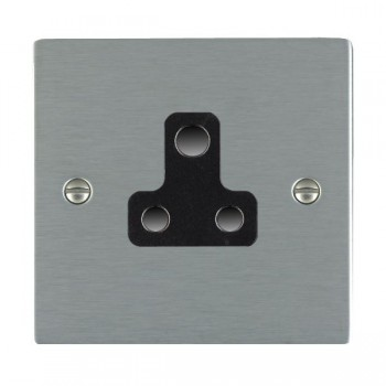 Hamilton Sheer Satin Steel 1 Gang 5A Unswitched Socket with Black Insert