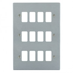Hamilton Sheer Grid Satin Chrome 12 Gang Grid Fix Aperture Plate with Grid