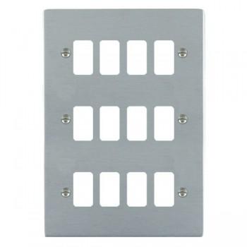 Hamilton Sheer Grid Satin Chrome 12 Gang Grid Fix Aperture Plate with Grid