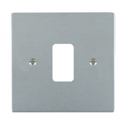 Hamilton Sheer Grid Satin Chrome 1 Gang Grid Fix Aperture Plate with Grid