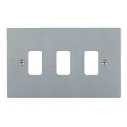 Hamilton Sheer Grid Satin Chrome 3 Gang Grid Fix Aperture Plate with Grid